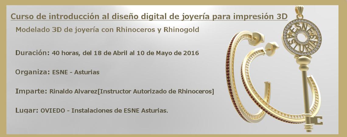 Curso de introducción al diseño digital de joyería para impresión 3D en ESNE Asturias